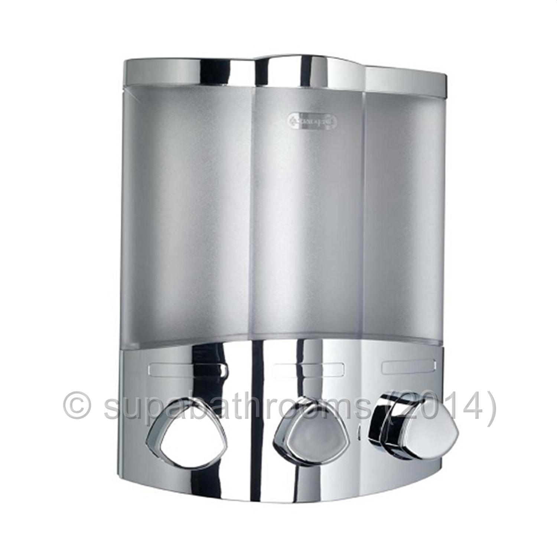 Croydex euro trio chrome wall mounted triple soap - Wall mounted bathroom soap dispenser ...
