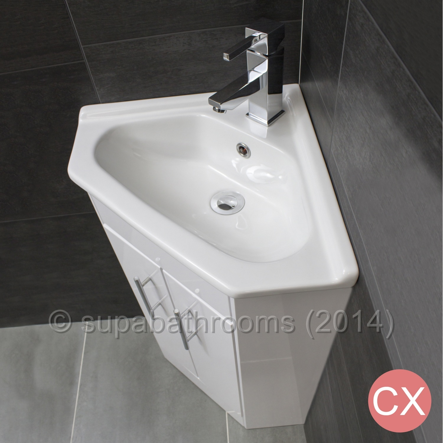Corner Wash Basin With Cupboard : Corner Two Door Vanity Unit With Tap Choice High Gloss White Cloakroom ...